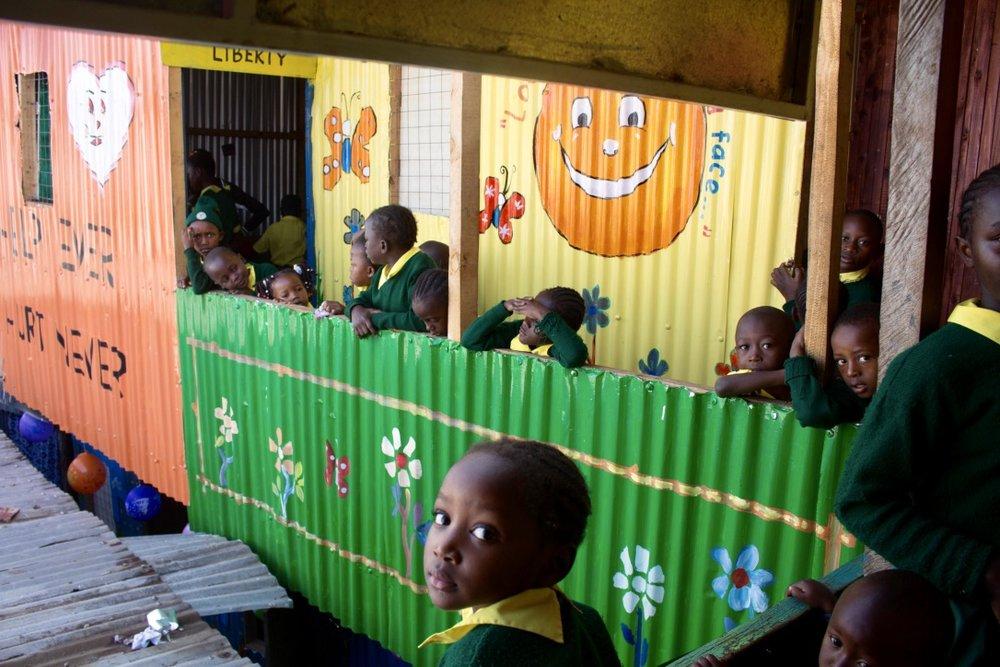 Students enjoying on the balcony.