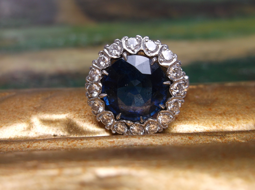 SOLD - 1950's 6.70 carat sapphire and diamond ring