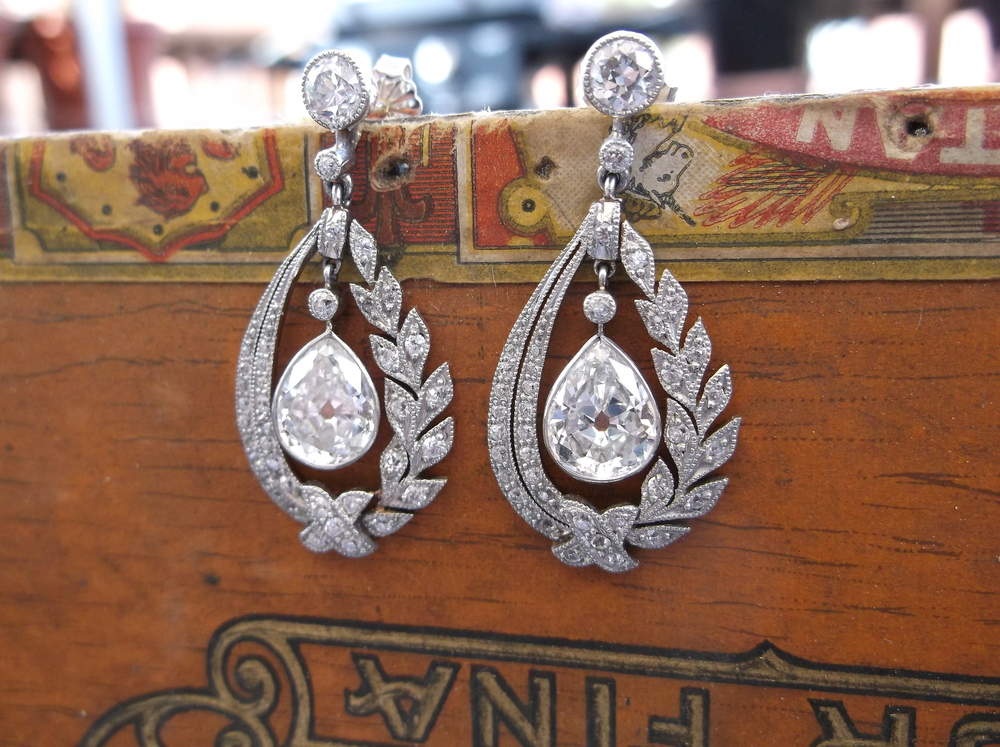 SOLD - Ravishing Art Deco 2.50 carat total weight, platinum on gold diamond earrings