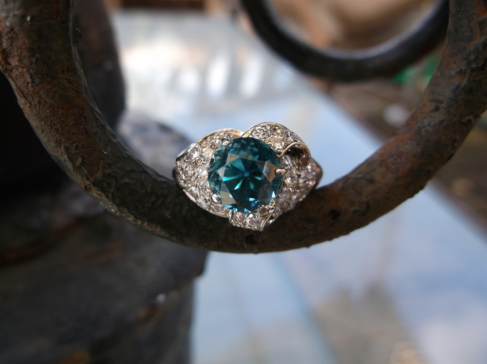 SOLD - Striking blue zircon and diamond ring set in 14K white gold!