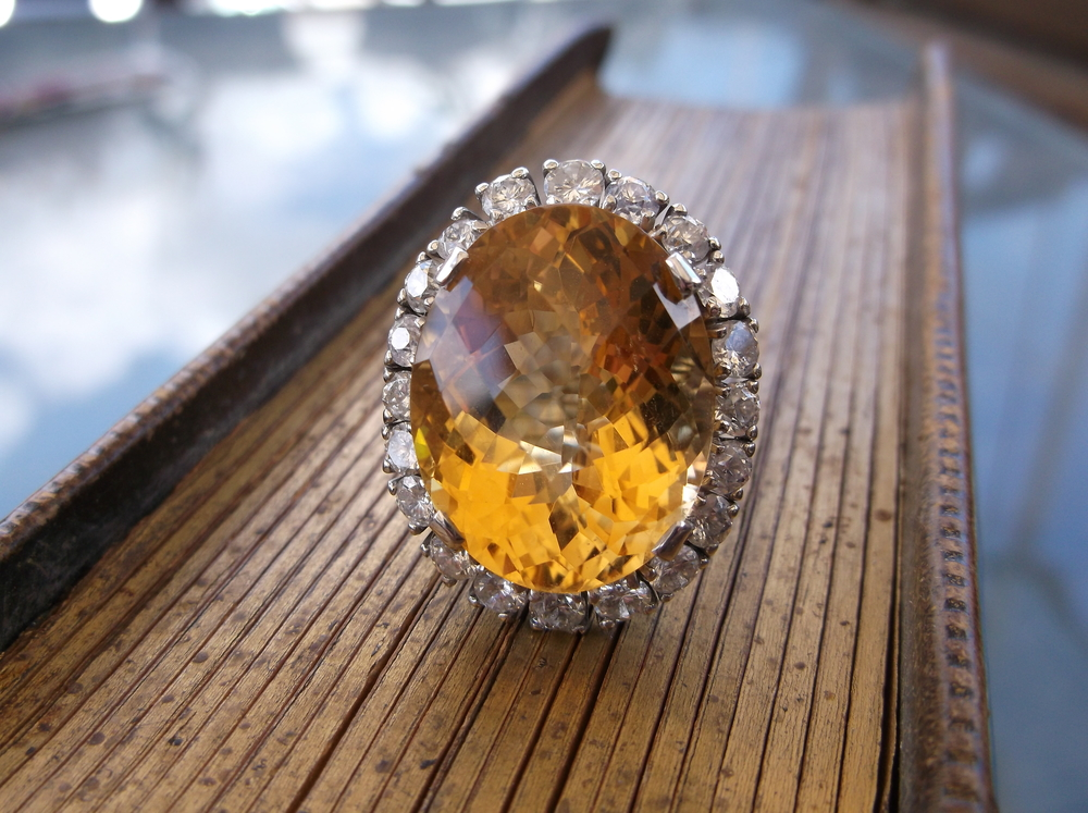 SOLD - Exquisite 22.50 carat citrine surrounded by 2.0 carats of diamonds