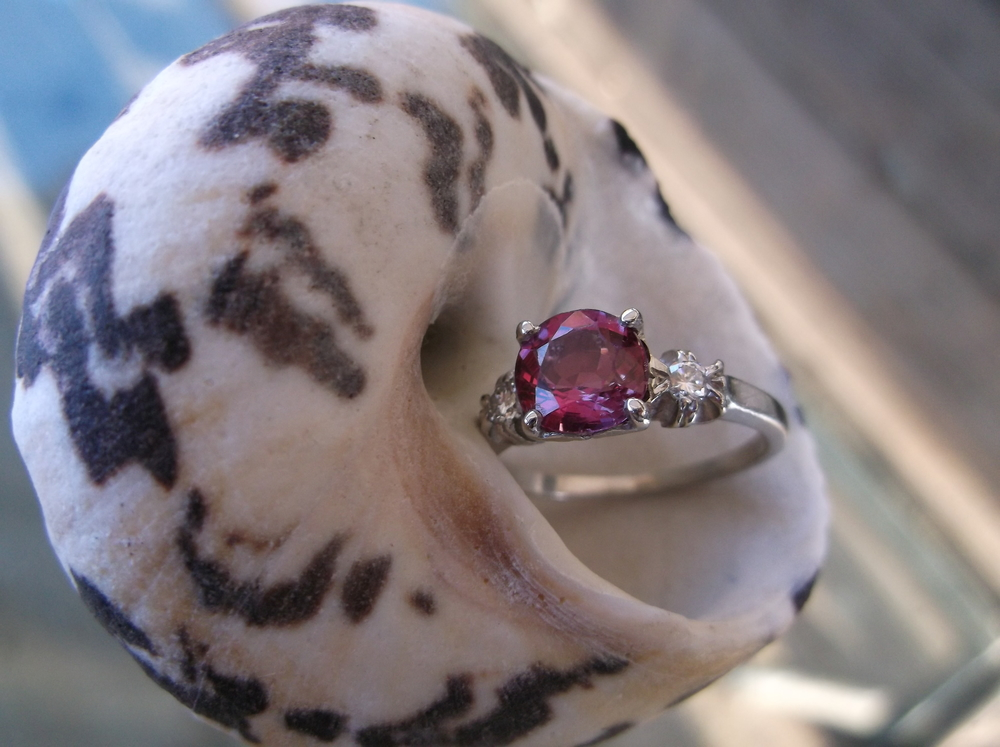 SOLD - Striking Walton's one of a kind 1.35 carat ruby set in a platinum and diamond mounting