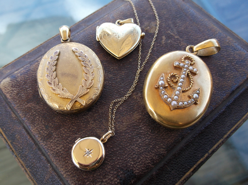 An enchanting array of gold lockets. These would make for the perfect sentimental, heartwarming Christmas gift!    SOLD - Laurel wreath locket     SOLD - Heart locket   SOLD - Small circular locket  SOLD - Anchor locket