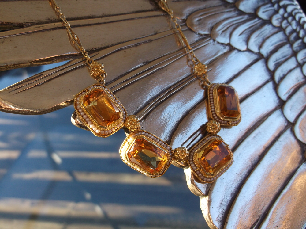 SOLD - Beautiful Victorian style citrine and seed pearl necklace on an intricate gold chain with floral links.
