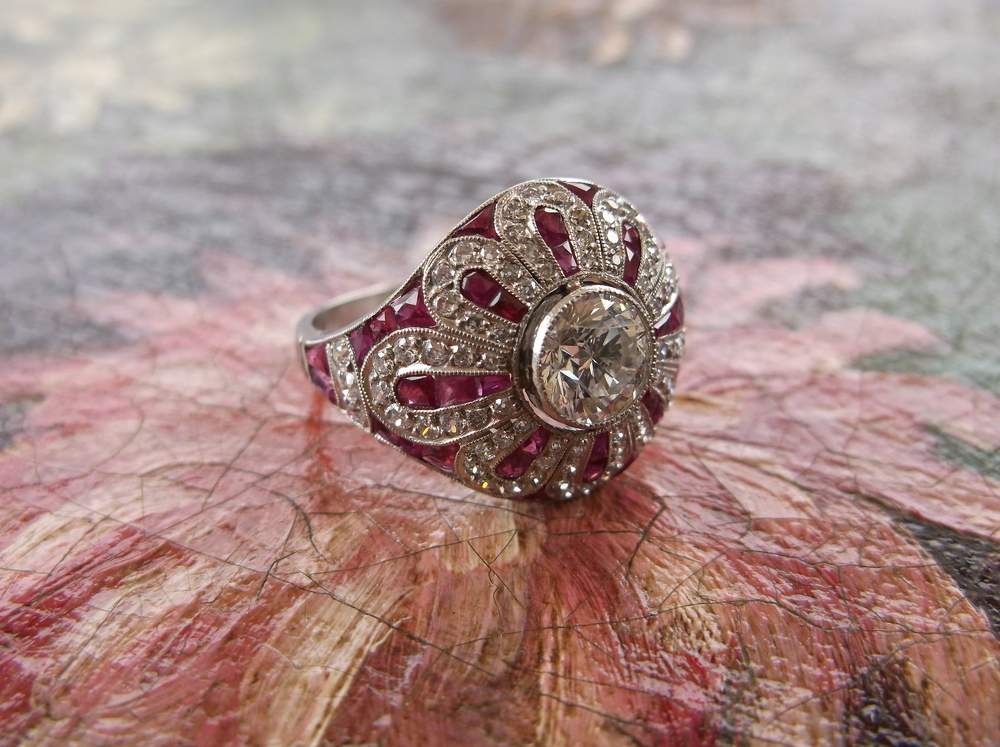 SOLD - Gorgeous all original Art Deco diamond and ruby ring!