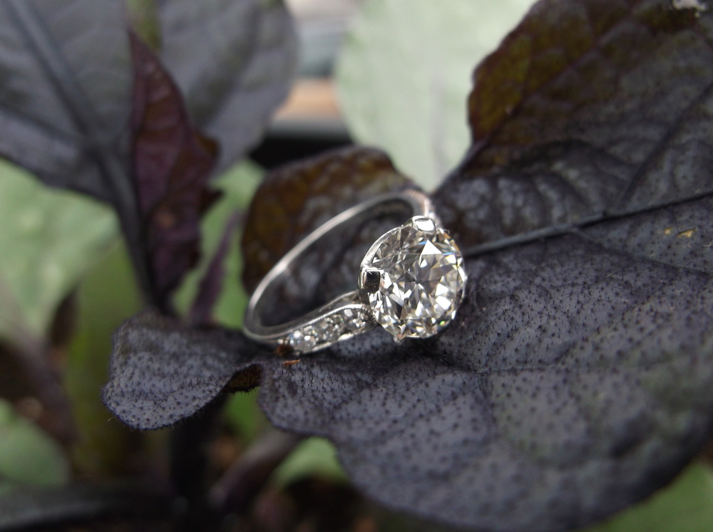 SOLD - Breath taking, all original 1920's Tiffany and Company 1.84 carat center diamond set in platinum.