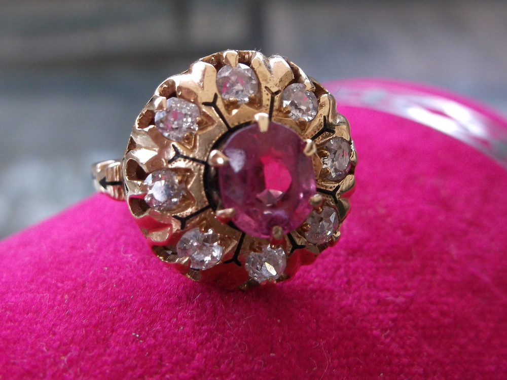 SOLD - Beautifully aged Victorian pink sapphire and diamond ring set in a gorgeous yellow gold and black enamel setting.