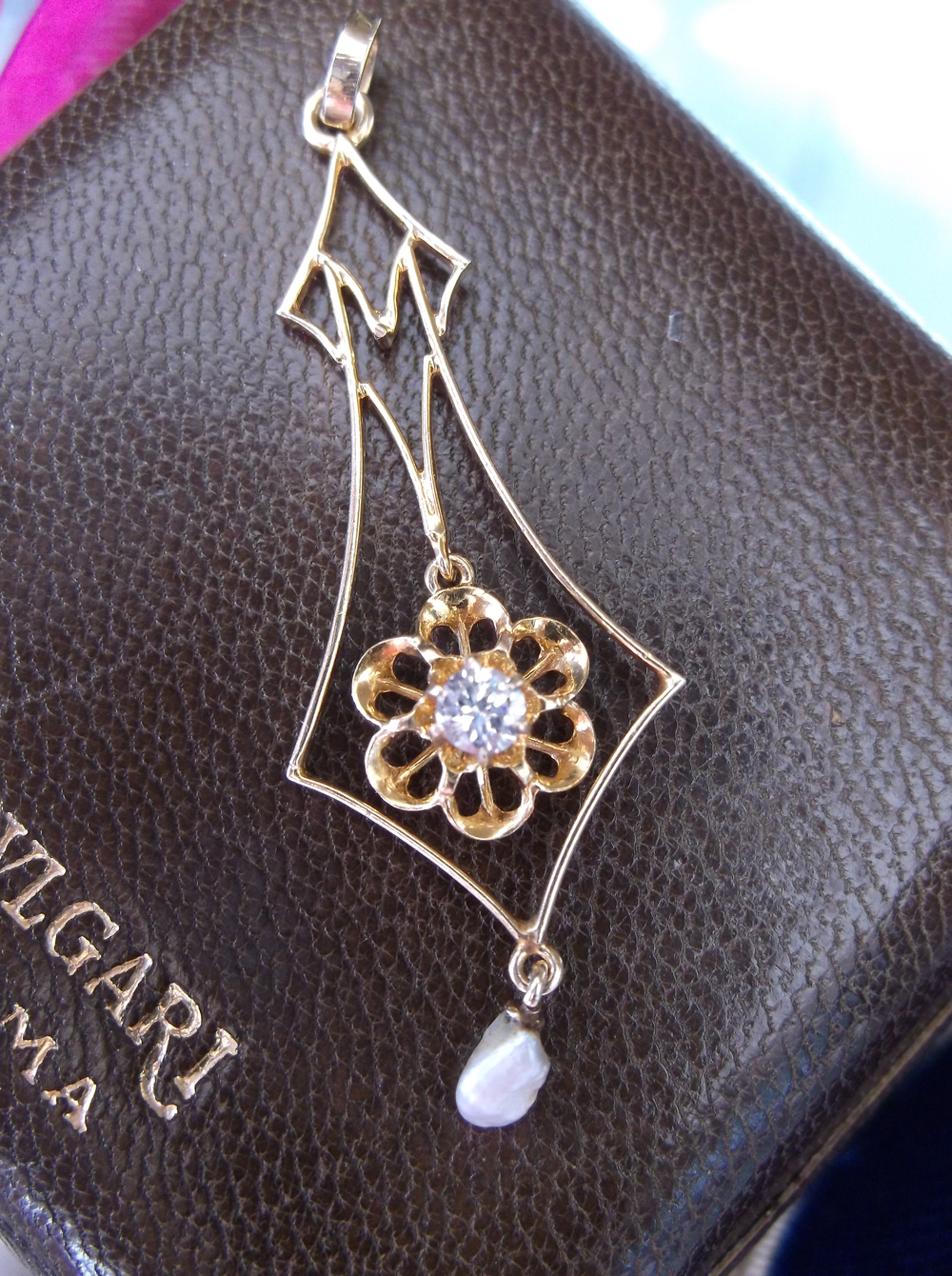 SOLD - Lovely gold, diamond and pearl Victorian lavalier pendant.