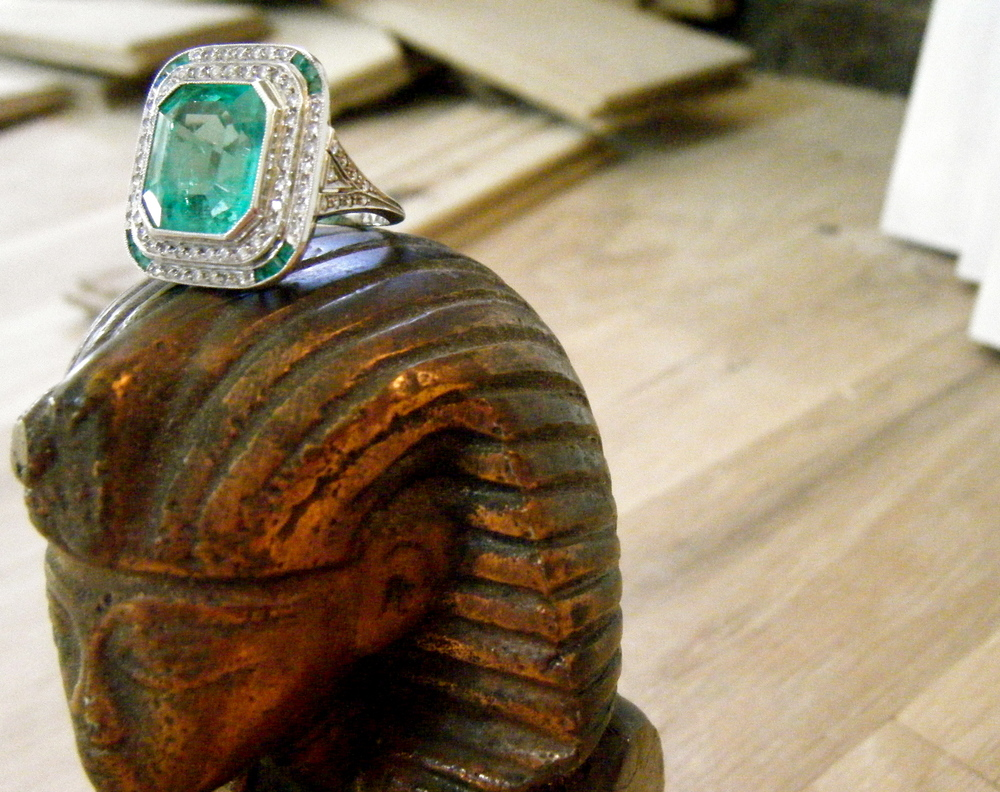 SOLD - Gorgeous all original 1920's emerald and diamond cocktail ring.