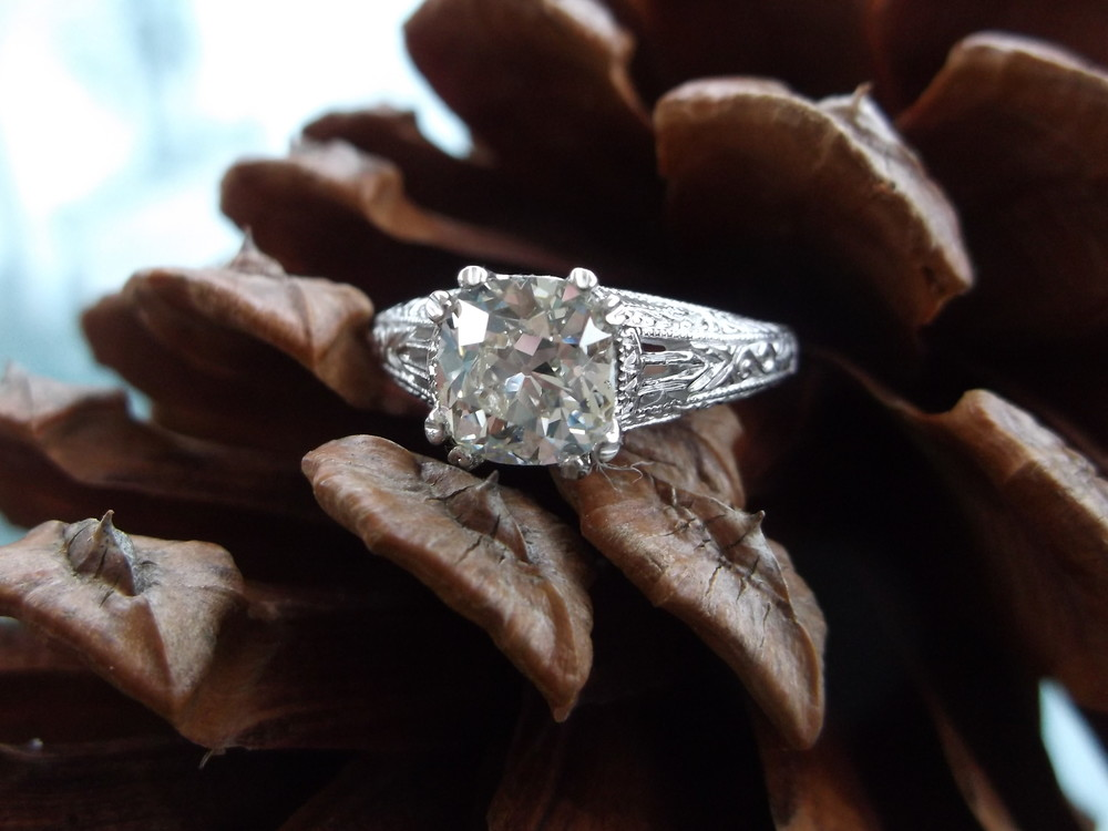 SOLD - Elegant 1.27 carat Old Mine cut diamond set in a beautiful white gold filigree setting.