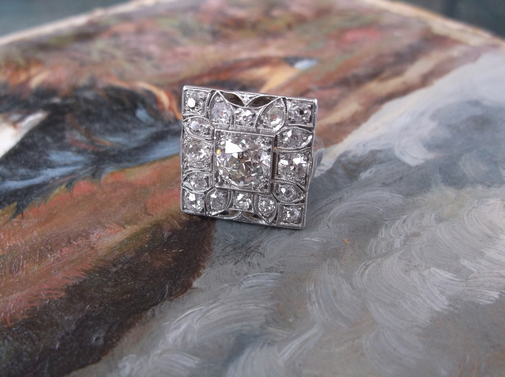 SOLD - Gorgeous early Art Deco old mine cut diamond and platinum ring with a 1.17 carat old mine cut diamond in the center!