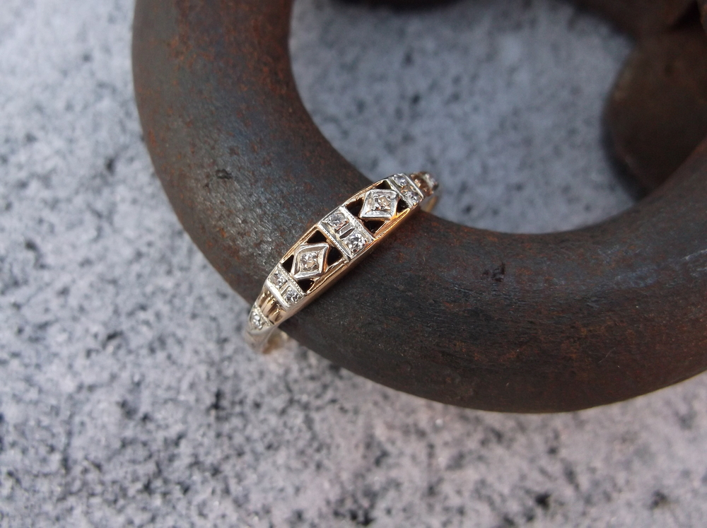 For January: Gorgeous 1940's two tone gold and diamond band.