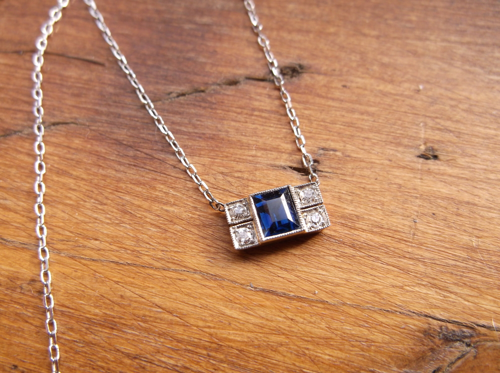 SOLD - Delicate but definitive Art Deco sapphire and diamond, platinum on gold pendant.