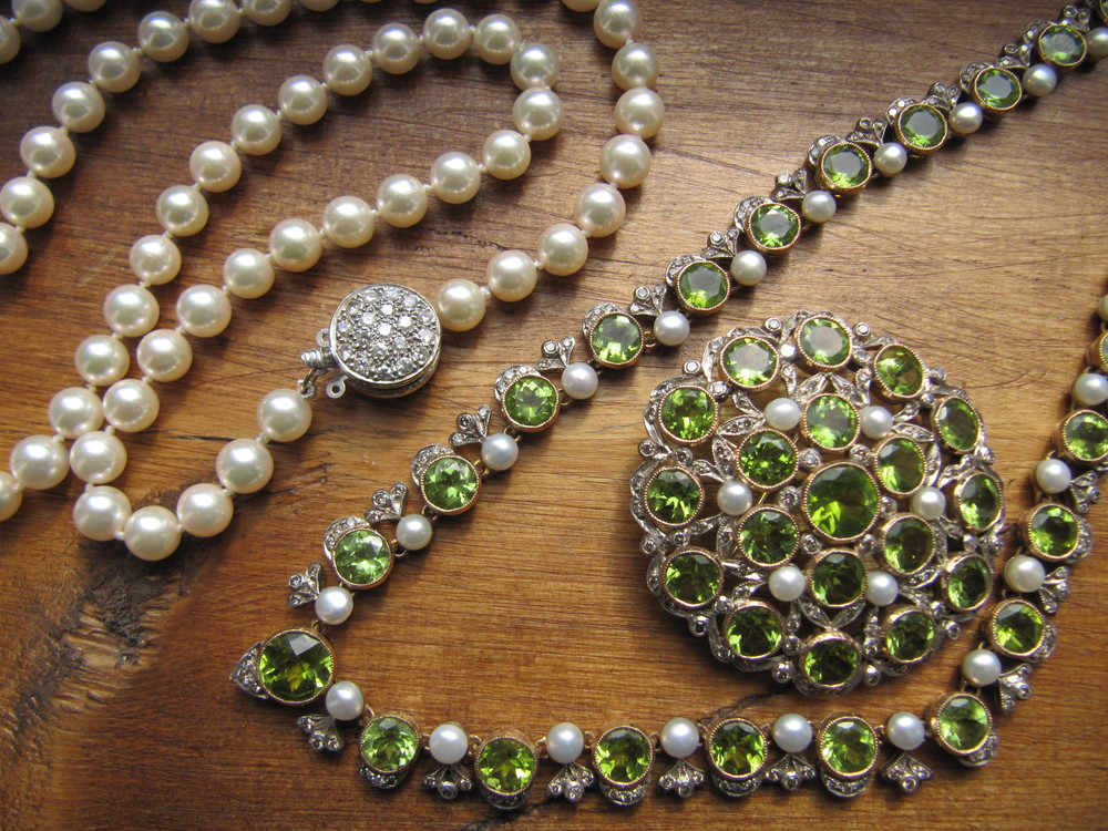 SOLD - Pearl strand with beautiful diamond clasp. Gorgeous Edwardian Era gold on platinum, peridot, diamond, and pearl necklace with detachable pendant/broach.