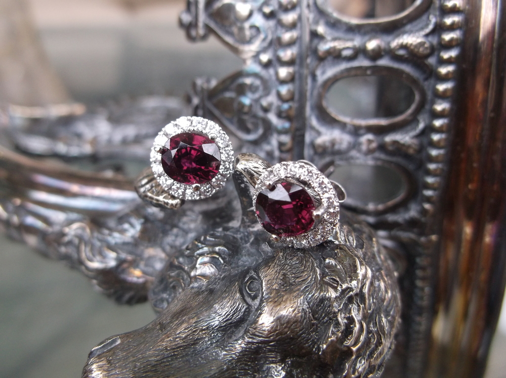 SOLD - Beautiful ruby and diamond earrings set in 14K white gold! (0.42 carat ruby in each earring.)