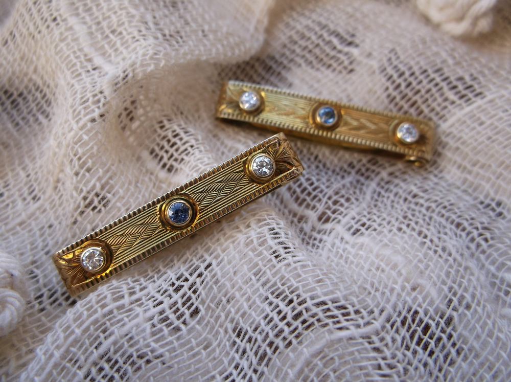 SOLD - Seductive Victorian era hand engraved gold, diamond and sapphire lingerie pins! These were commonly used to keep ladies undergarment straps from becoming exposed.