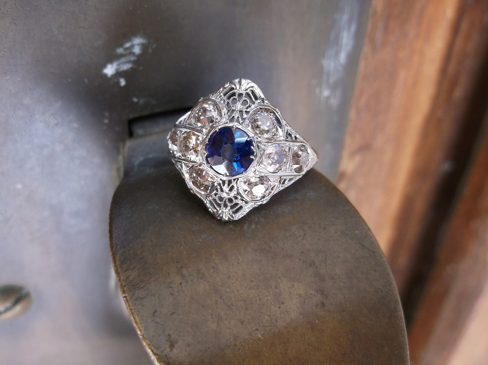 SOLD - Exquisite 1920's Old Mine cut diamond and sapphire ring set in white gold with 0.80 carats total weight in diamonds.