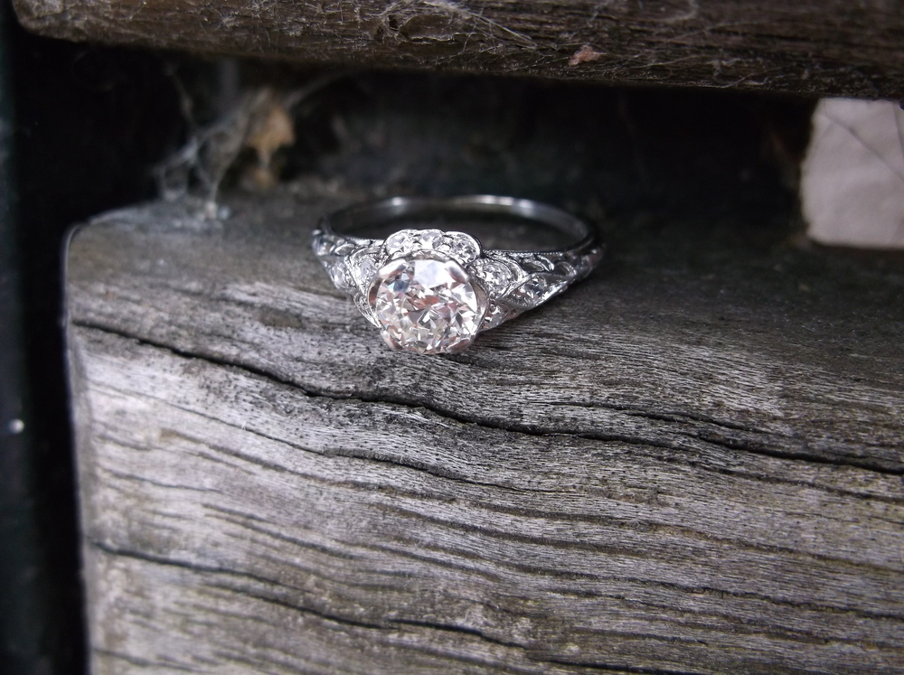 SOLD - Absolutely gorgeous Art Deco 0.55 carat Old European cut diamond ring with beautiful diamond detail set in platinum