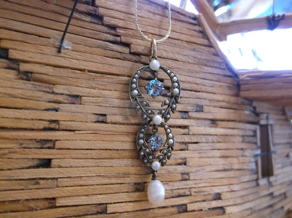SOLD - Beautiful circa 1900's aquamarine and pearl pendant.