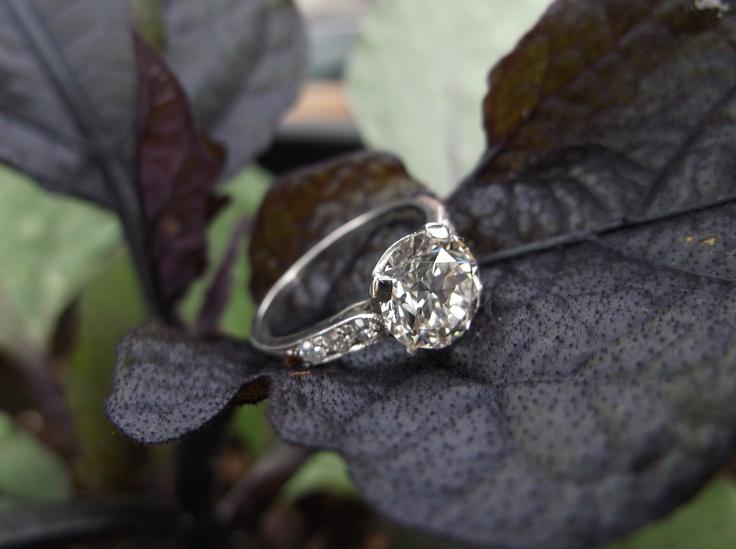 Walton's Jewelry example: 1920's Tiffany and Company 1.86 carat Old European cut diamond ring.