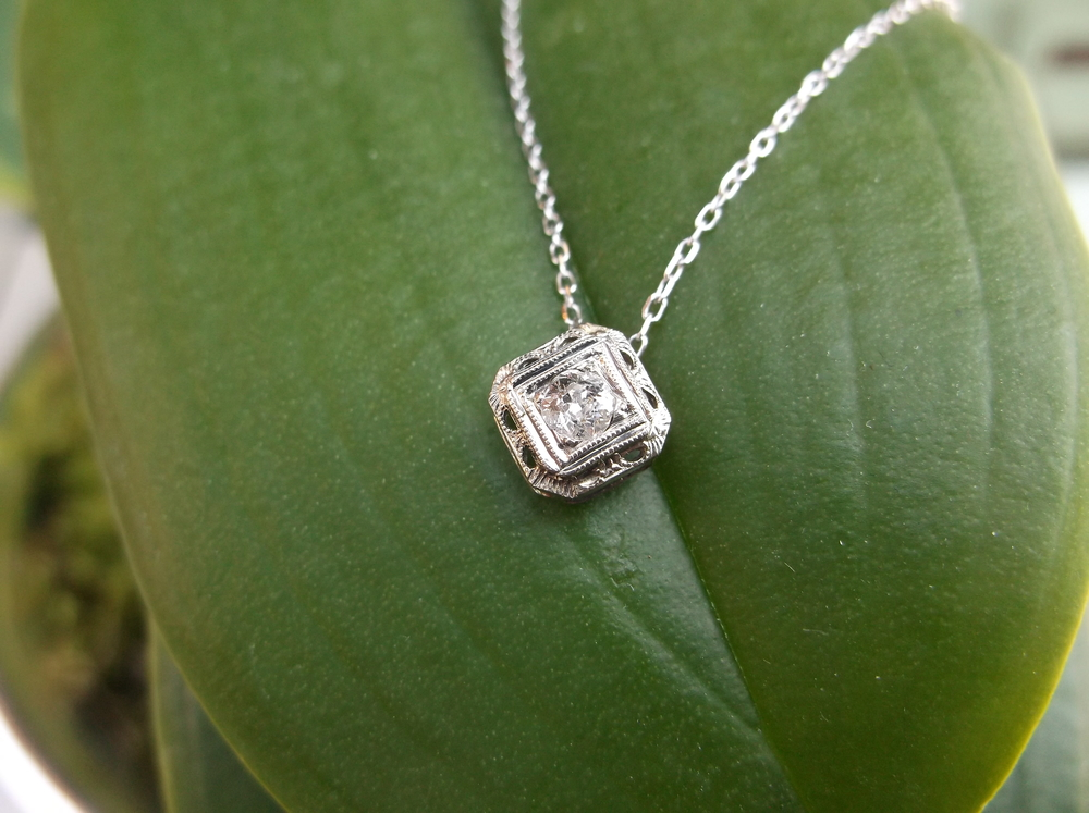 For April: Beautiful 1920's Old European cut diamond pendant.