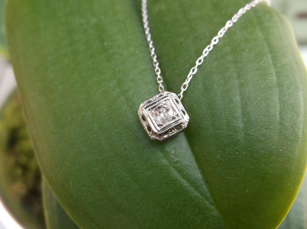 For April: Beautiful 1920's Old European cut diamond pendant.