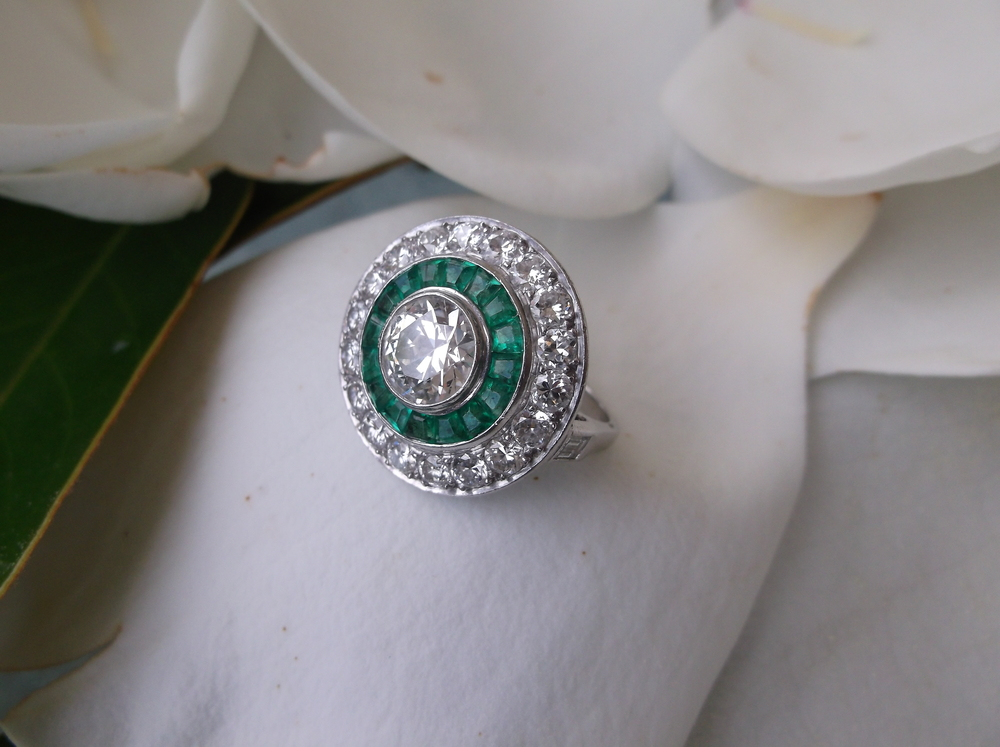Melba's Art Deco diamond and emerald cocktail ring.
