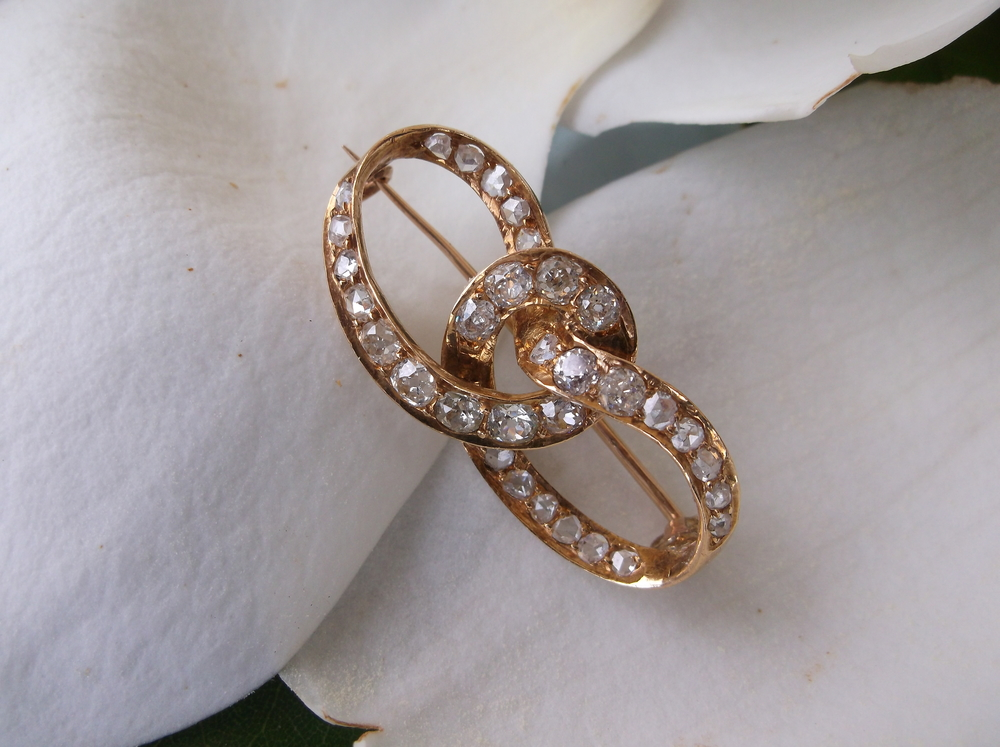 Melba's Victorian era Old Mine cut diamond pin set in yellow gold.