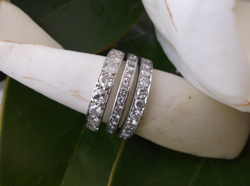 Melba's stack of Art Deco diamond wedding bands.