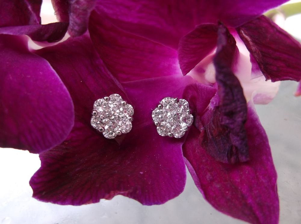 SOLD - Sweet diamond earrings that make a big, beautiful impression! 1.17 carats total weight in diamonds set in 14K white gold.