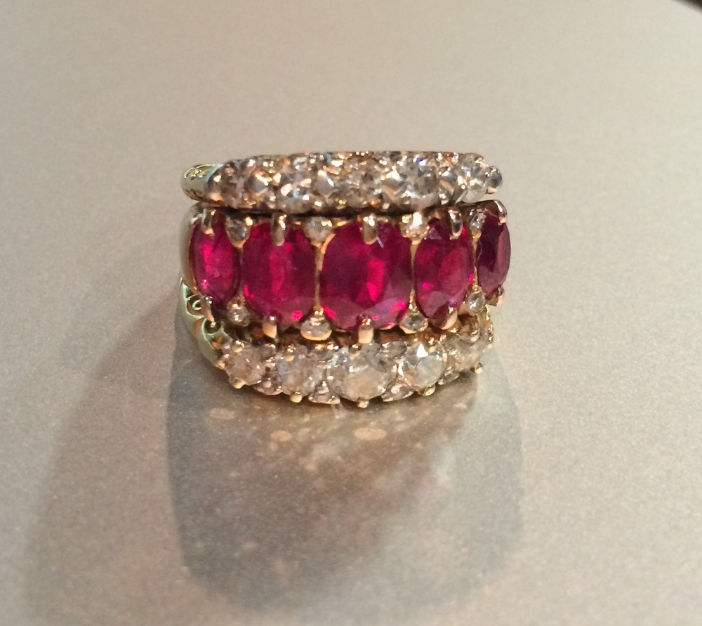Ruby and Old European cut diamond ring.