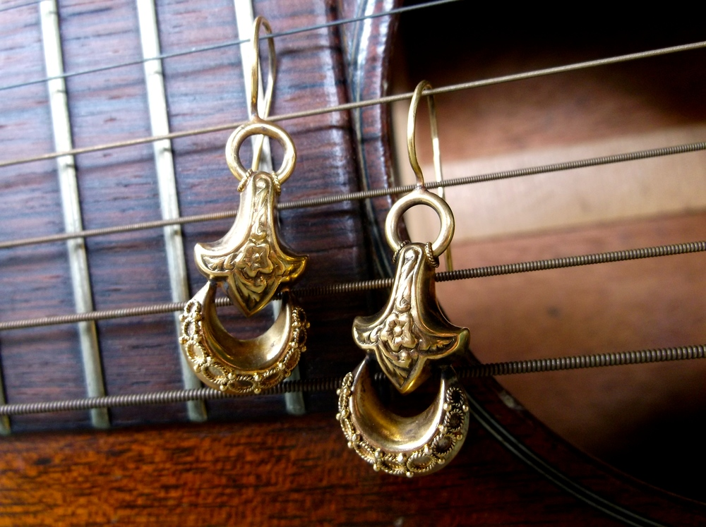 SOLD - Lovely Victorian era gold earrings with stunning hand crafted detail.