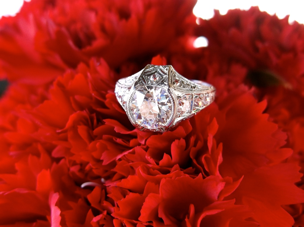 SOLD - Art Deco 1.33 carat Old European cut diamond set in a beautiful platinum and diamond mounting.