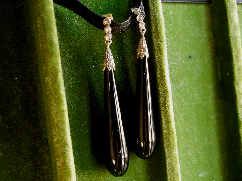 "SOLD - Stunning turn of the century, silver topped gold, diamond and onyx drop earrings. (Approximately 2"" in length.)"