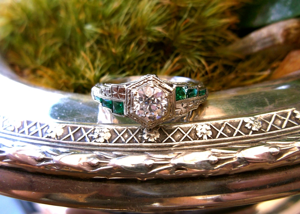 SOLD - Beautiful Art Deco diamond and emerald ring set in white gold with a 0.54 carat Old European cut diamond in the center.