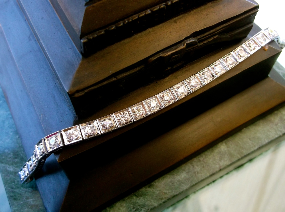 SOLD - Exquisite Art Deco diamond bracelet with 5.00 carats total weight in Old European cut diamonds.