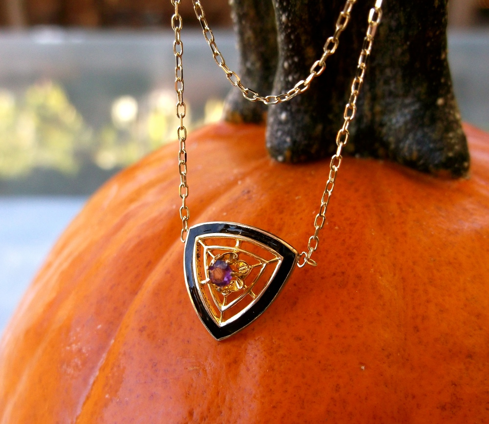 For October: Victorian Era black enamel, amethyst and yellow gold pendant.