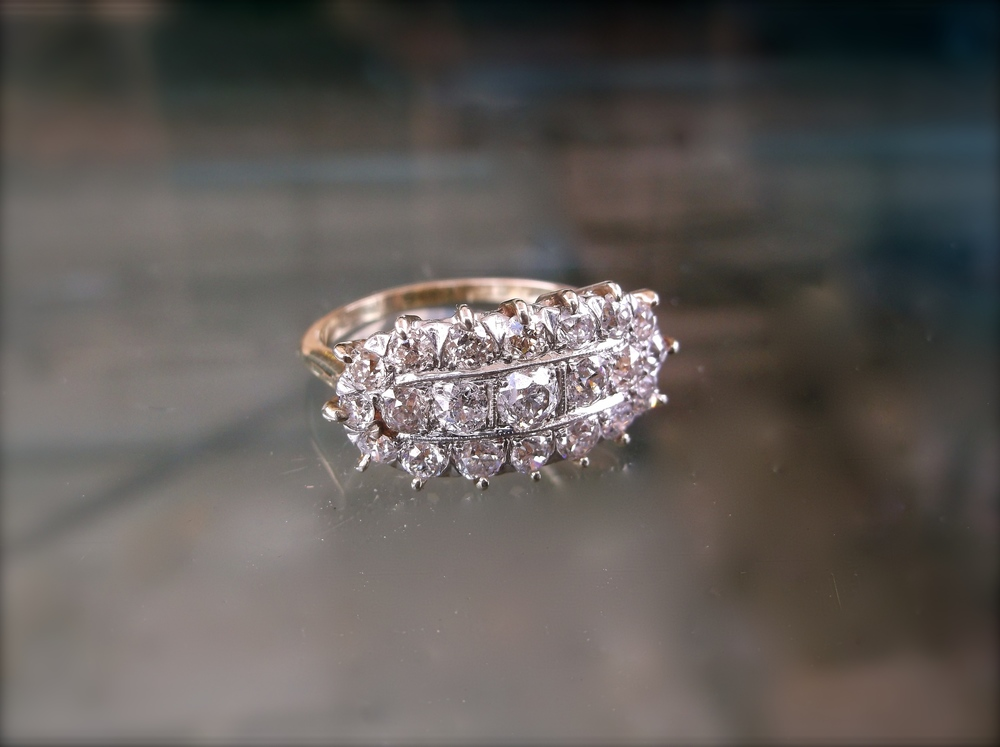 For November (Our Grand In-Store Giveaway to be held during our 40th Anniversary Party on November 6th, in lieu of a Facebook giveaway):  Vintage Old European cut diamond ring with 2.00 carats total weight in diamonds.