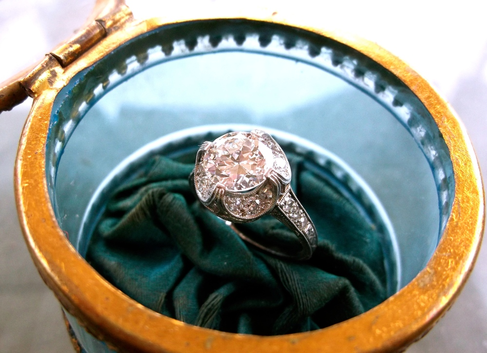 SOLD - Lovely Art Deco 1.61 carat Old European cut diamond set in a beautiful diamond and platinum mounting.