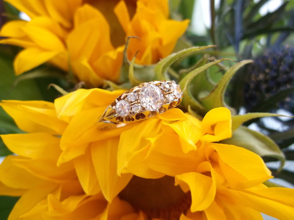 SOLD - Victorian Era diamond ring with 0.70 carats total weight in Old Mine cut diamonds set in yellow gold.
