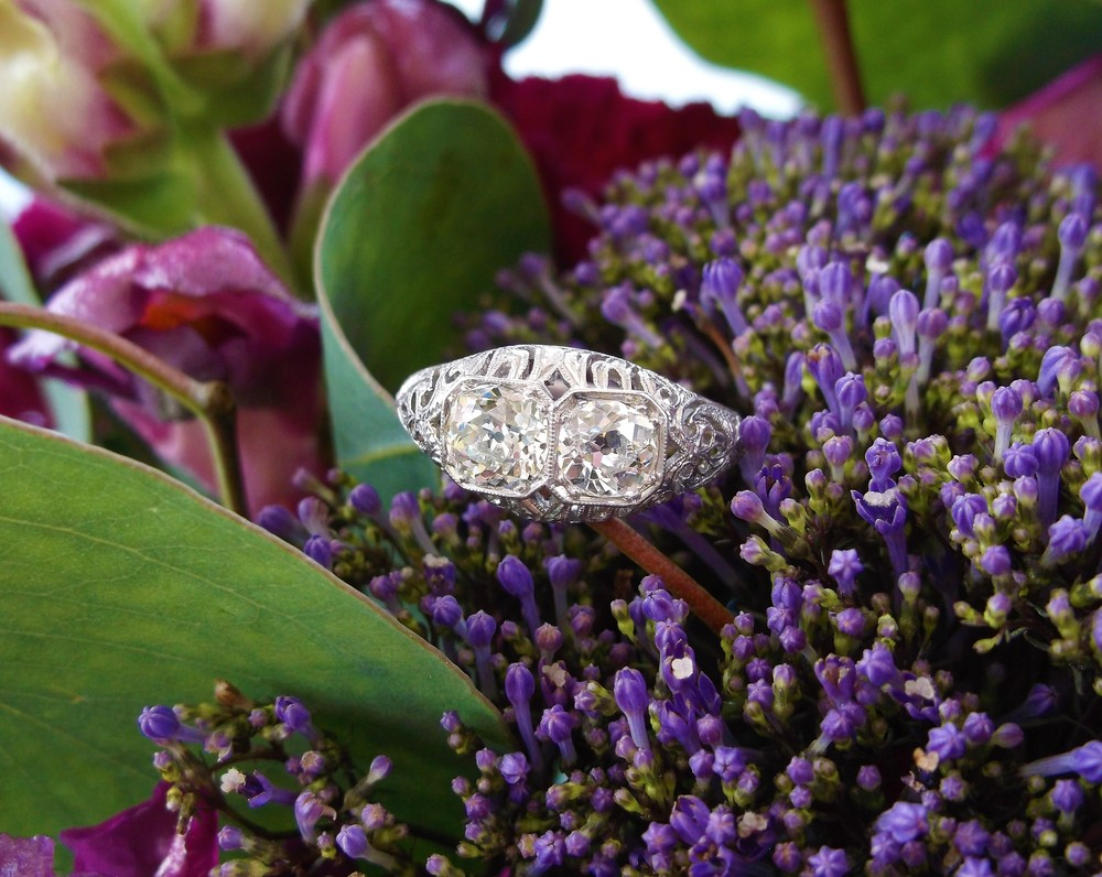 SOLD - Uniquely beautiful all original 1920's Old Mine cut diamond ring set in platinum with 0.95 carats total weight in diamonds.