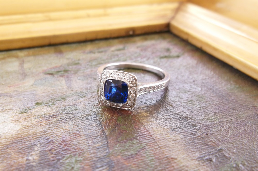 SOLD - Beautiful Tiffany & Company 1.33 carat sapphire set in a lovely diamond and platinum mounting.