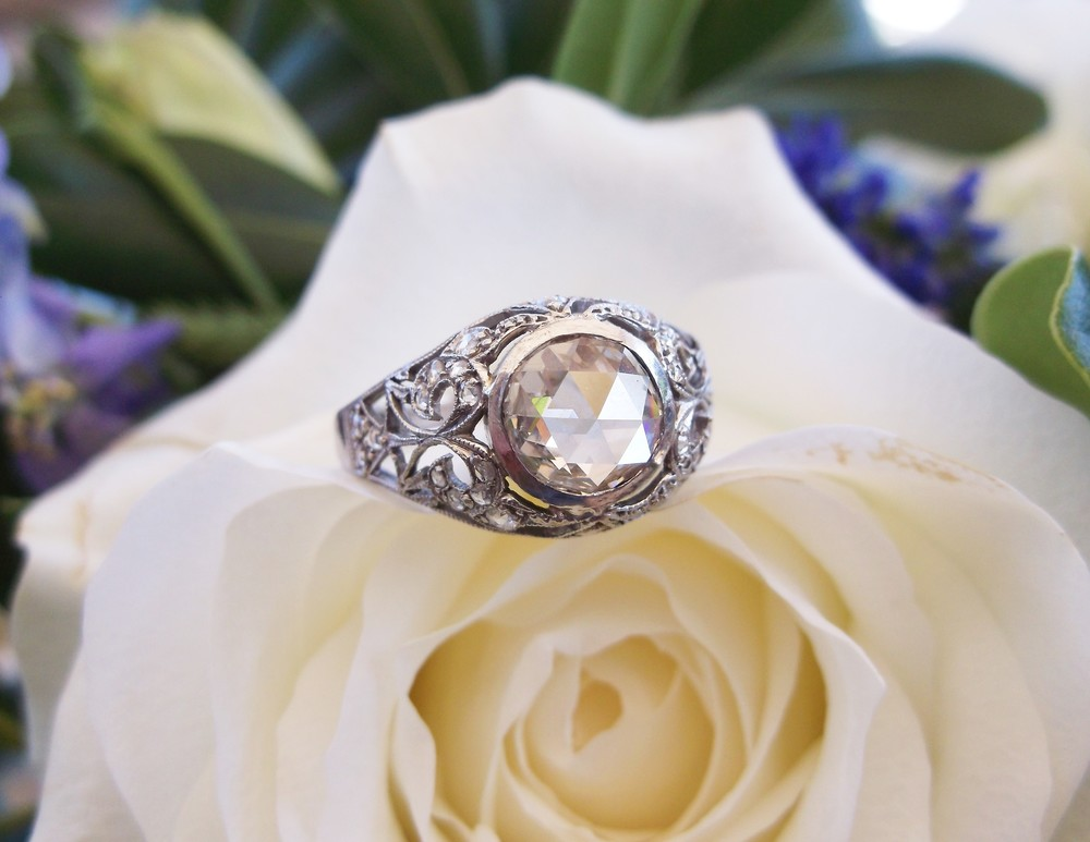 SOLD - Uniquely beautiful 1920's 0.50 carat rose cut diamond and platinum ring.