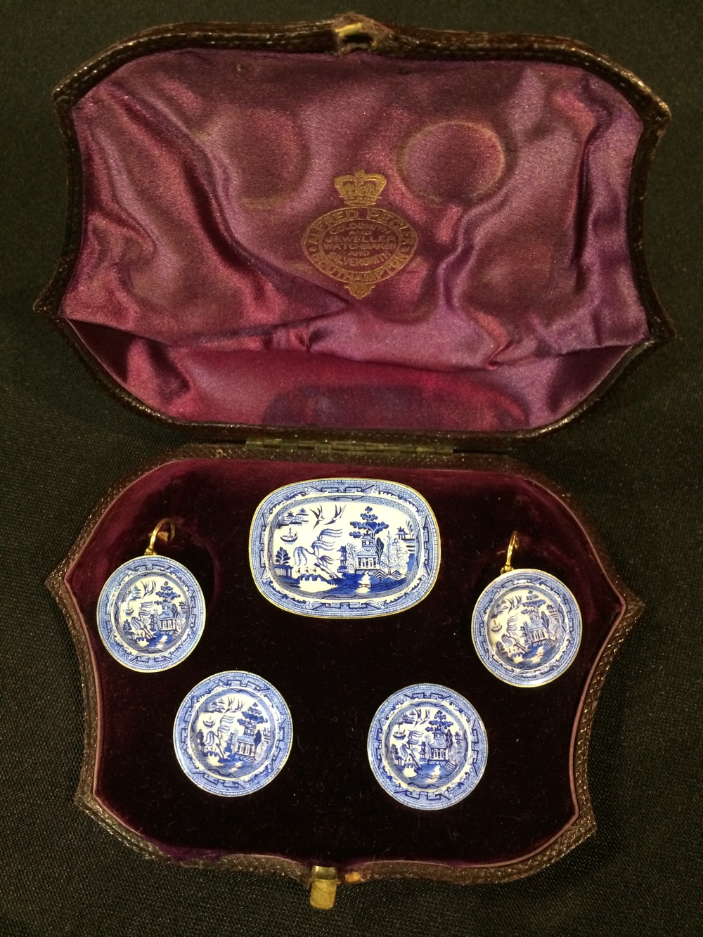 Victorian enameled miniature porcelain and gold earrings, cufflinks and pin suite.  Quite beautiful and unique, we have never seen anything like it!