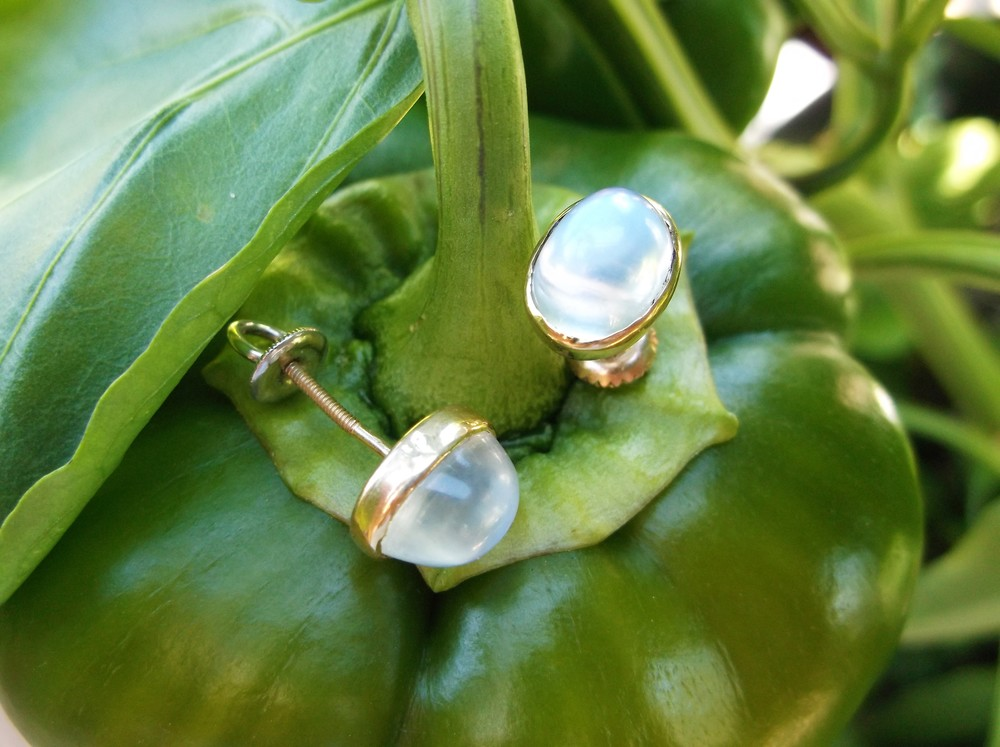 SOLD - Mesmerizing yellow gold and moonstone stud earrings.