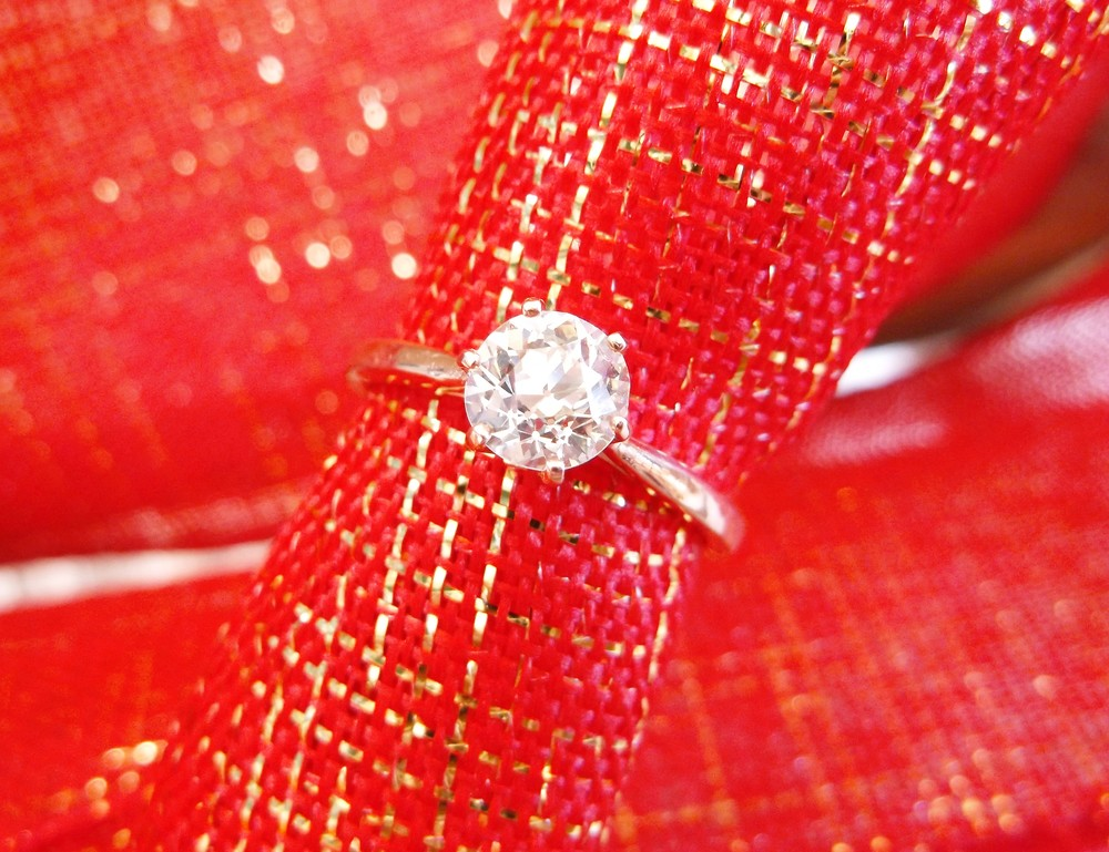 Beautifully classic 1.07 carat Old European cut diamond set in a six prong rose gold solitaire mounting.