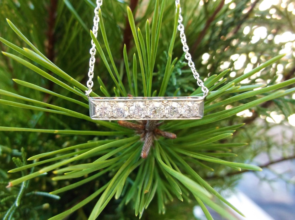 SOLD - Lovely Old Mine cut diamond bar necklace with 1.50 carats total weight in diamonds set in platinum topped gold.