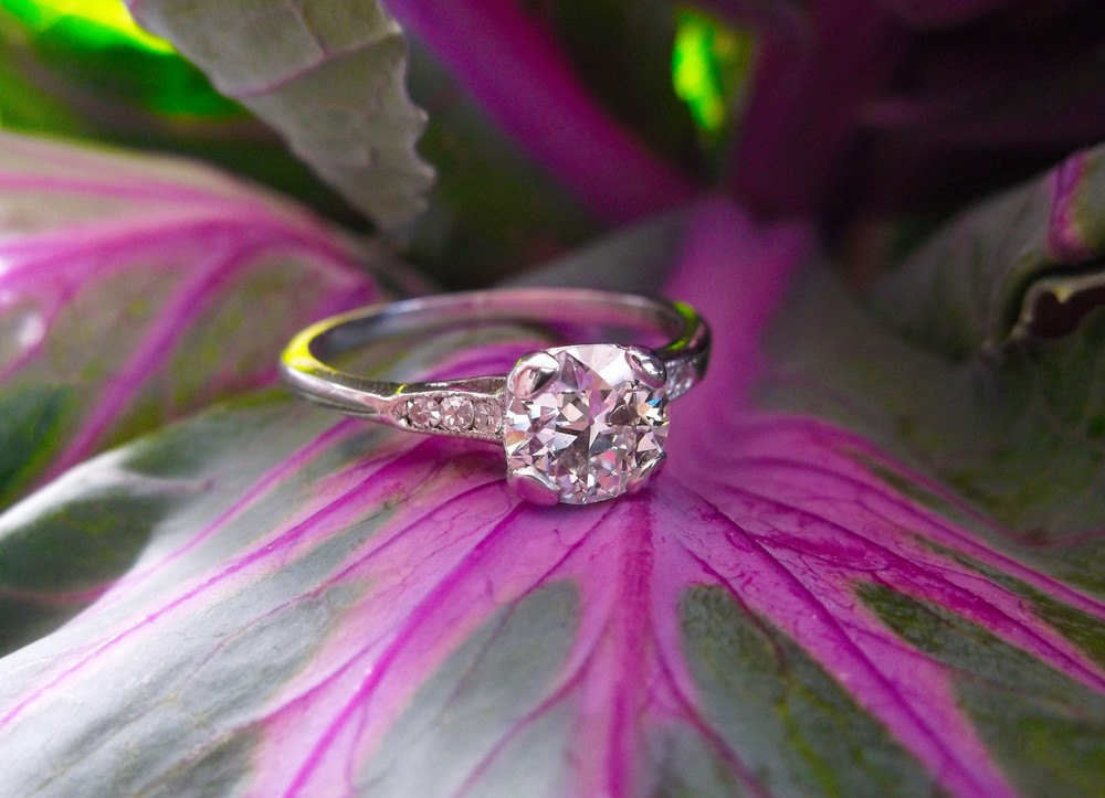 SOLD - Classy 1.00 carat Old European cut diamond in a beautiful platinum and diamond mounting.