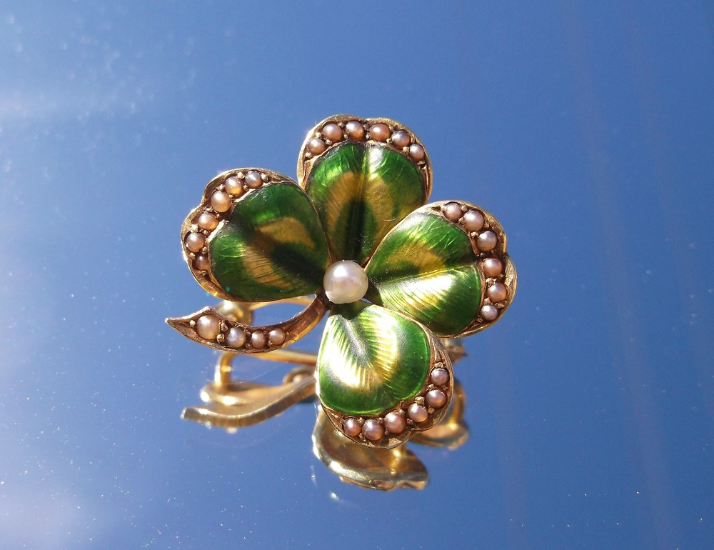 SOLD - Lucky turn of the century yellow gold, pearl and green enameling clover pin.