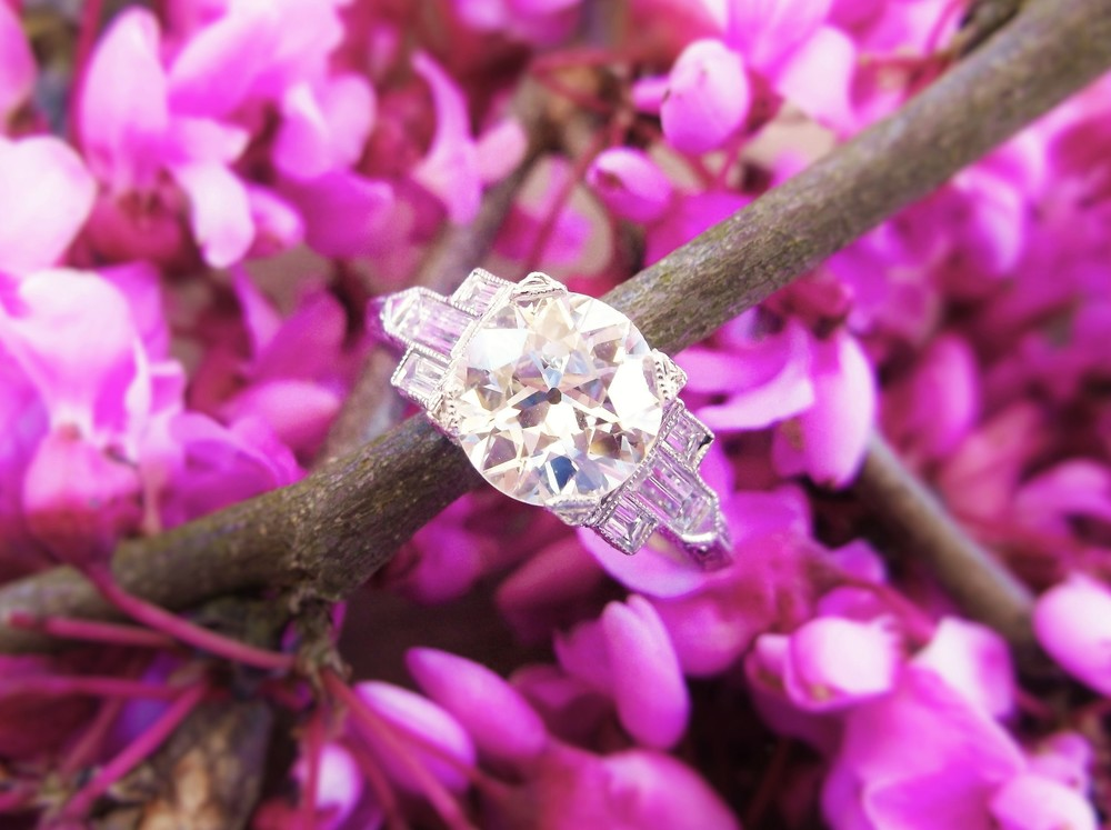 SOLD - Stunning 1.63 carat Old European cut diamond set in a beatiful baguette diamond and platinum mounting.
